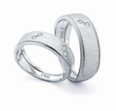 Textured Platinum Love Bands with diamonds SJ PTO 113 - Suranas Jewelove