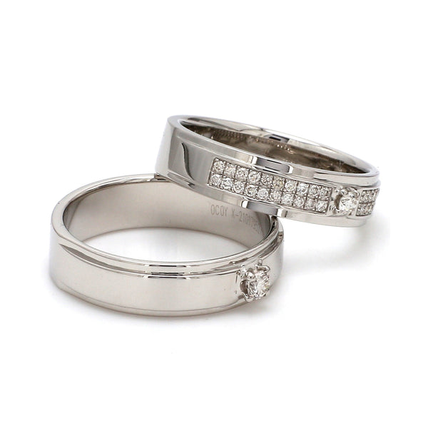 Side View of Platinum Love Bands with Sparkling Diamonds JL PT 622