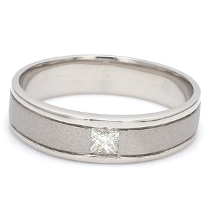 Front View of Princess Cut Single Diamond Ring for Men JL PT 420