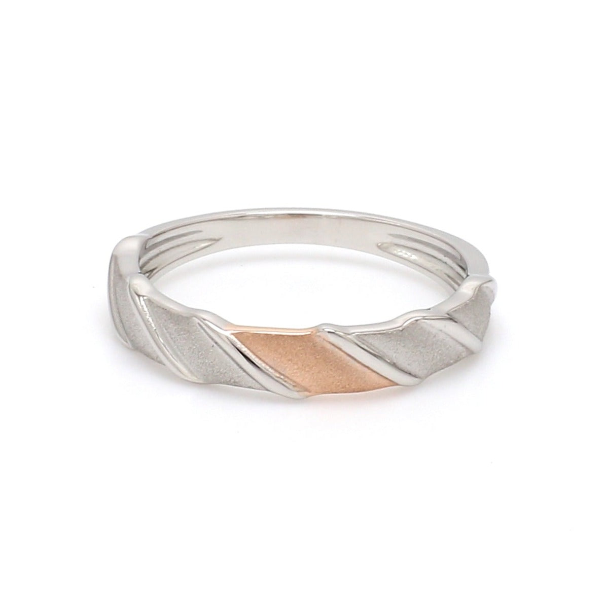 Front View of Designer Plain Platinum & Rose Gold Love Bands for Women JL PT 910