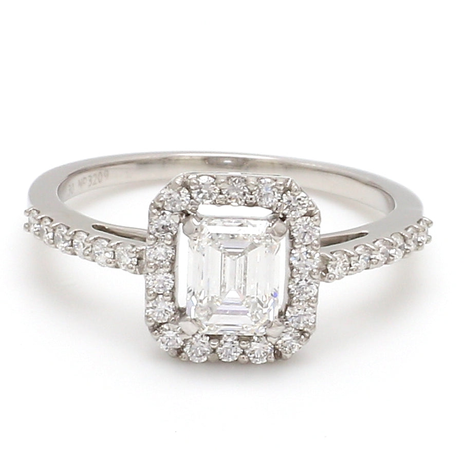 Front View of 0.70 cts. Emerald Cut Solitaire Ring in Platinum Halo Setting JL PT 469-A