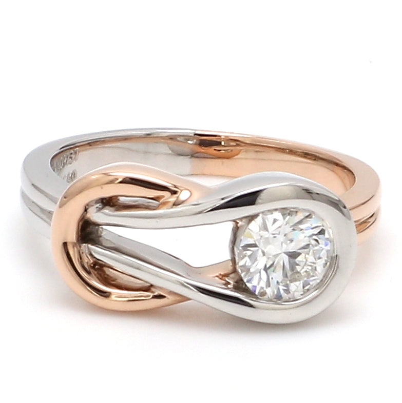 Infinity Platinum Rose Gold Solitaire Ring for Women JL PT 468-A