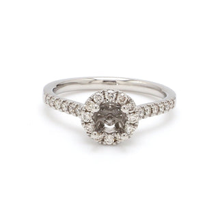 Diamond Halo & Shank Platinum Ring Mounting for Solitaire JL PT 671 - M