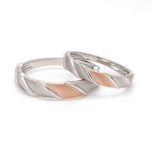Designer Plain Platinum & Rose Gold Love Bands JL PT 910