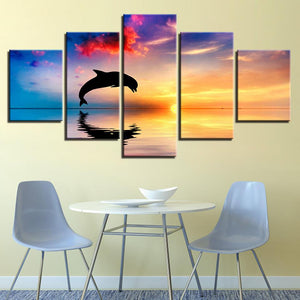 Dolphins Sunset Seascape