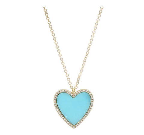 Turquoise and Diamond Heart Necklace
