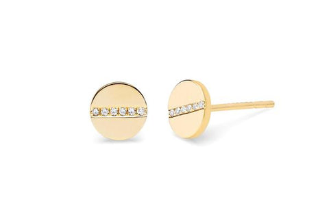 Gold Disc With Diamond Line Earrings