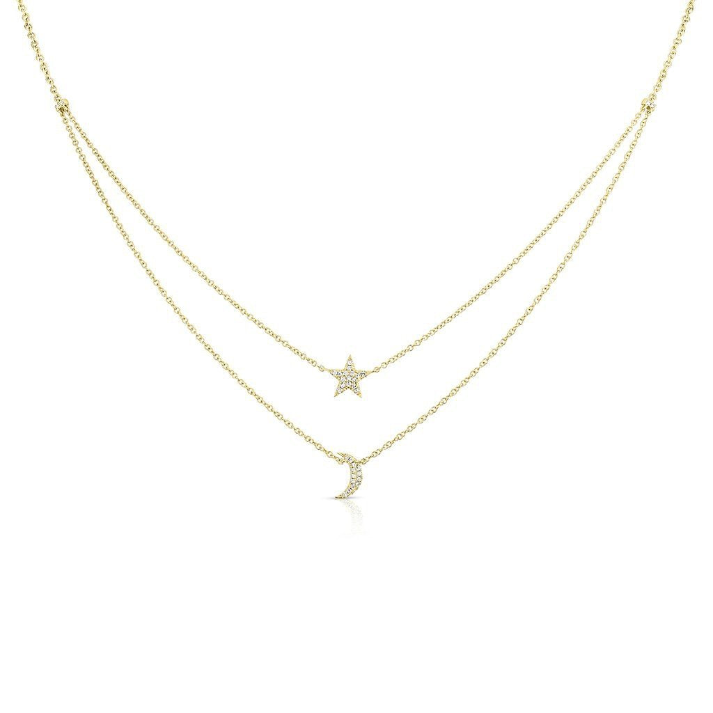 Star & Moon Double Chain Necklace