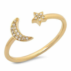 Diamond Moon and Star Ring