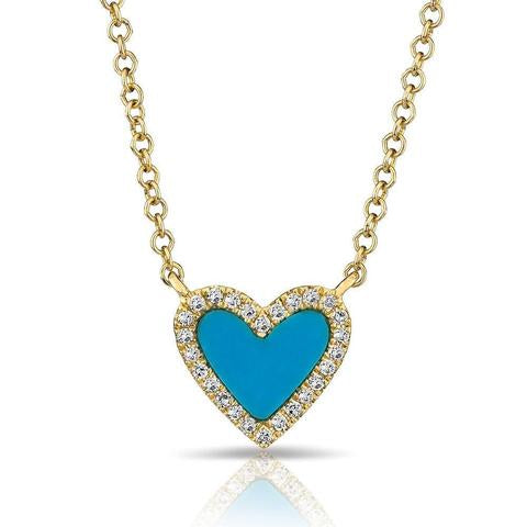 Small Turquoise Heart With Diamonds