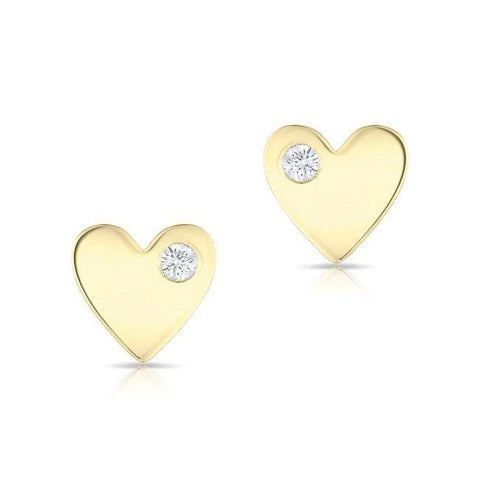 Single Diamond Heart Earrings