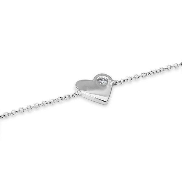 Single Diamond Heart Bracelet