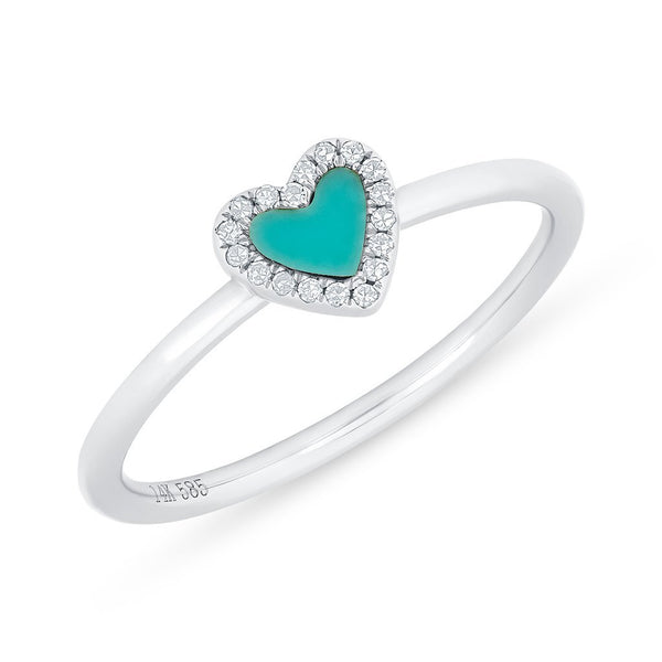 Small Turquoise Heart Ring