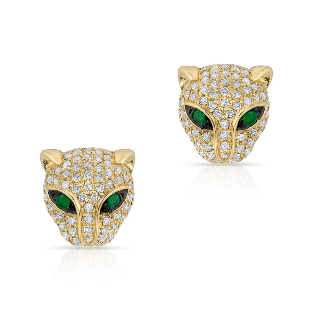 Diamond and Emerald Panther Earrings