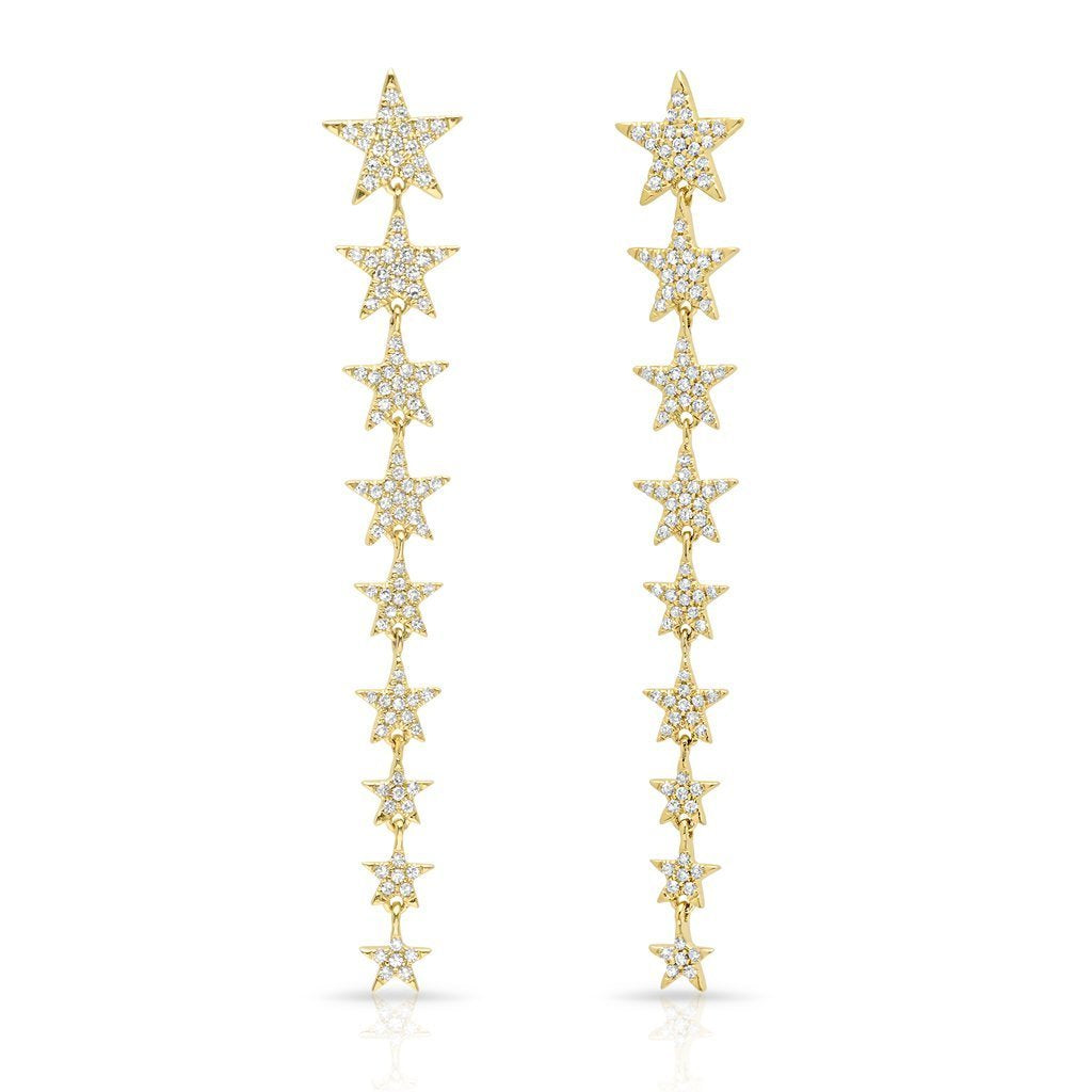 Multi Diamond Star Drop Earrings