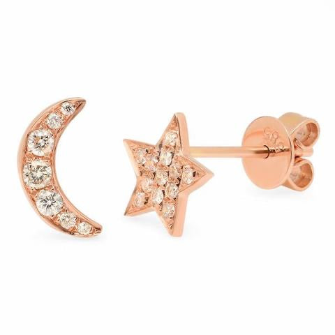 Diamond Moon & Star Earrings