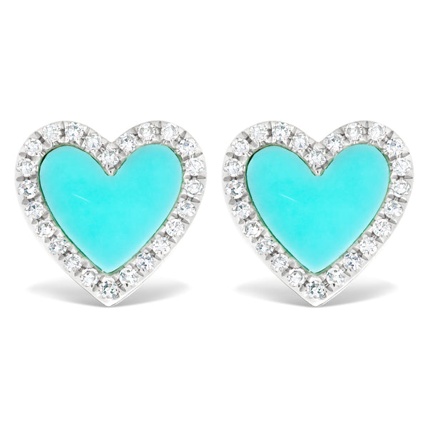Turquoise and Diamond Heart Studs