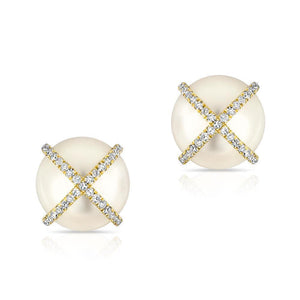 Pearl Studs With Diamond X