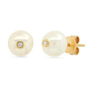 Pearl Studs With Diamond Inlay