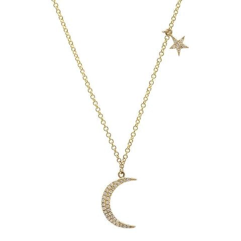 Small Moon and Star Necklace