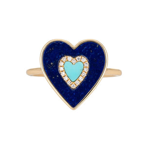 Lapis & Turquoise Heart Ring With Diamonds