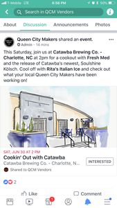 See you at Cataba Brewery Cookout, Sat - 6/30
