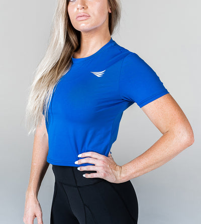 CROPPED PERFORMANCE TEE - ROYAL BLUE