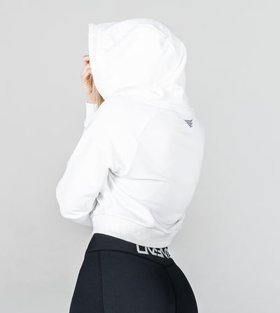 CROPPED PERFORMANCE HOODIE - GLACIER WHITE