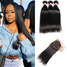 Load image into Gallery viewer, Straight Hair Bundles w/ Closure