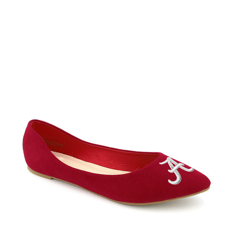 Alabama Crimson Tide Pointed Toe Suede Ballet Flats