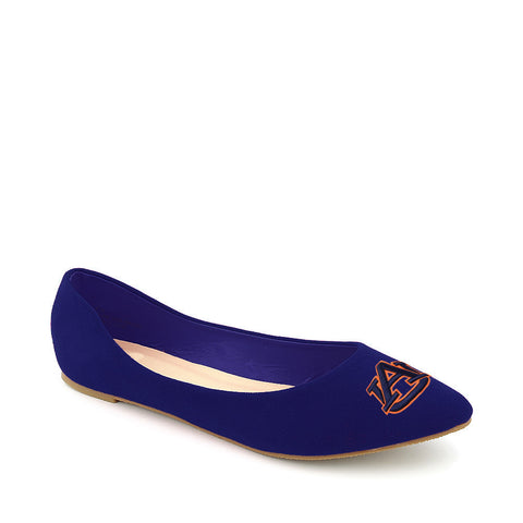 Auburn Tigers Pointed Toe Blue Suede Ballet Flats