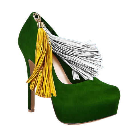 Green Team Color Pom Pom High Heel Suede Pumps by HERSTAR