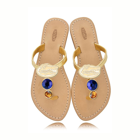 Florida Gators Ladies Jewel Embellished Flat Sandals-With Large Royal Blue Jewel and Small Orange Jewel