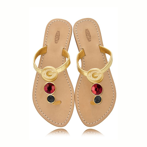 Georgia Bulldogs Ladies Jewel Embellished Flat Sandals-With Large Red Jewel and Small Black Jewel