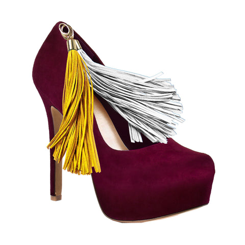 Maroon Team Color Pom Pom High Heel Suede Pumps by HERSTAR