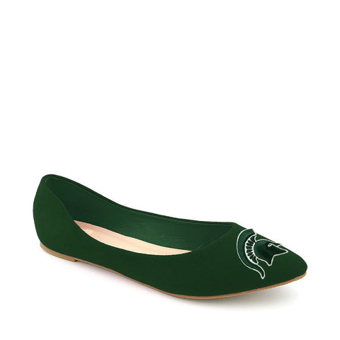 Michigan State Spartans Pointed Toe Suede Ballet Flats