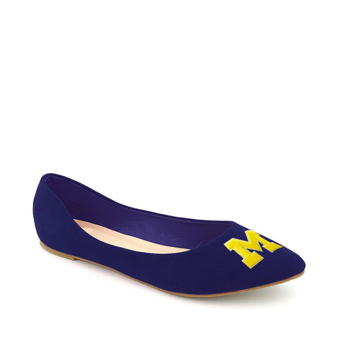 Michigan Wolverines Pointed Toe Suede Ballet Flats
