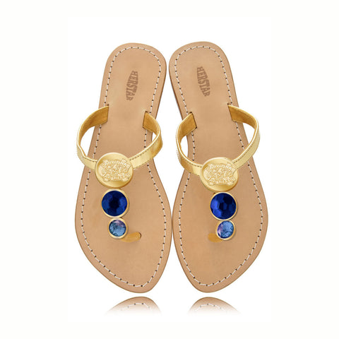 North Carolina Tar Heels (UNC) Ladies Jewel Embellished Flat Sandals-With Large Royal Blue Jewel and Small Powder Blue Jewel