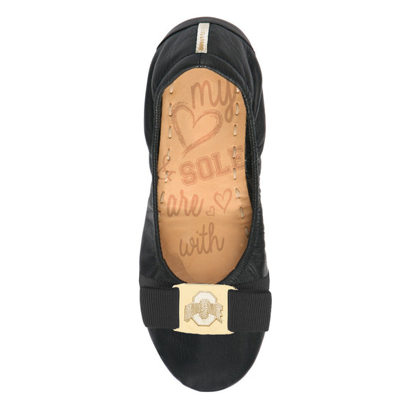 Ohio State Buckeyes Black Faux Leather Fold Up Ballet Flat