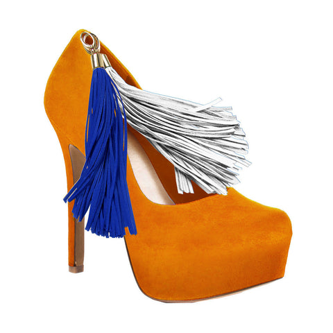 Orange Team Color Pom Pom High Heel Suede Pumps by HERSTAR