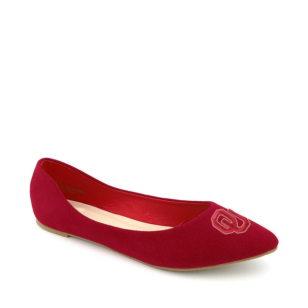 Oklahoma Sooners Pointed Toe Suede Ballet Flats