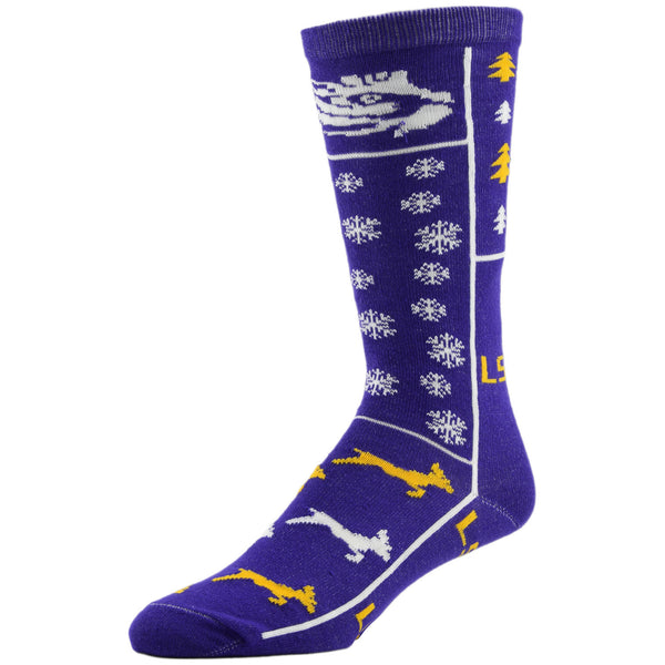 NCAA, LSU Holiday socks, by MOJO.