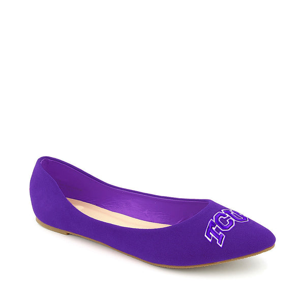 Texas Christian Horned Frogs Pointed Toe Suede Ballet Flats