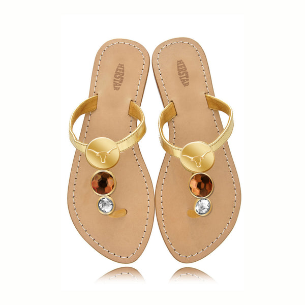 Texas Longhorns Ladies Jewel Embellished Flat Sandals-With Large Orange Jewel and Small White Jewel