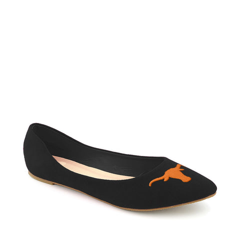 Texas Longhorns Pointed Toe Blue Suede Ballet Flats