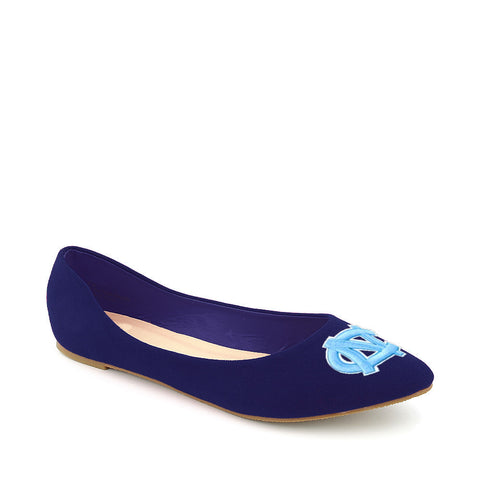 North Carolina Tarheels Pointed Toe Blue Suede Ballet Flats