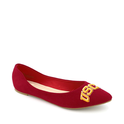 USC Trojans Pointed Toe Red Suede Ballet Flats