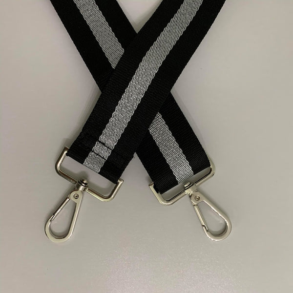 Silver and Black Stripe Bag Strap