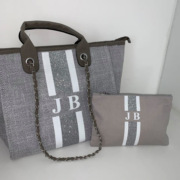 Glitter Chanella Chain Bag Gift Set - Grey