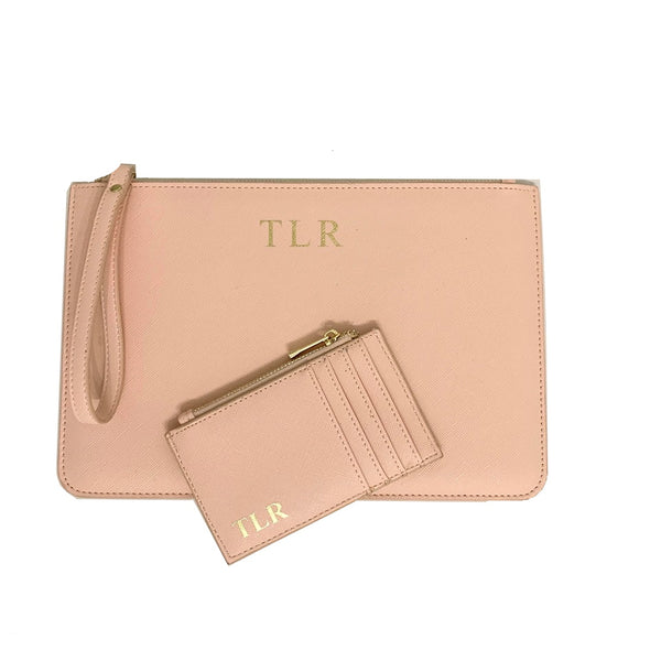 Personalised Initial Clutch Bag & Card Holder Gift set - Nude
